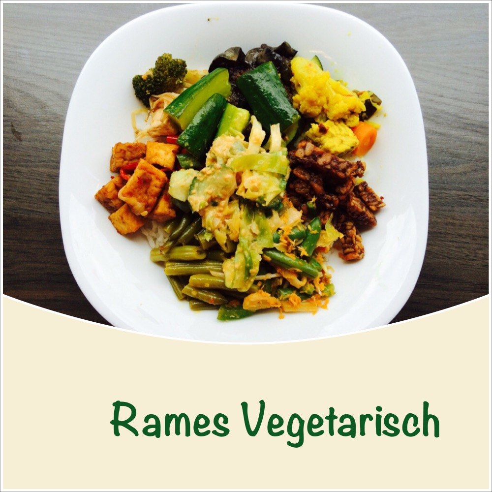 Rames Vegetarisch - Vegetarische maaltijd met allle soorten groenten en een basis gerecht