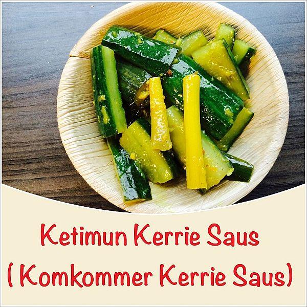 Stukjes komkommer in kerriesaus