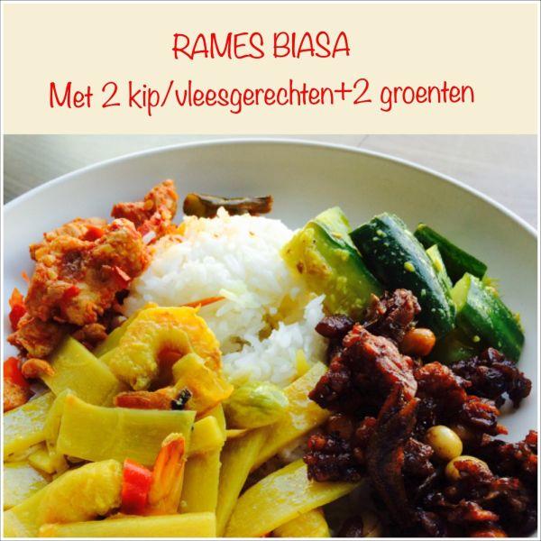 Rames Biasa - 'standaard' maaltijd- Basisgerecht met 1 kip- of vleesgerecht en 1 soort groente naar keuze