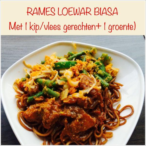 Rames Loewar Biasa - Maaltijd 'speciaal', basisgerecht met 2 soorten groenten en 2 kip- of vlees gerechten